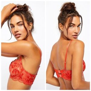Free People Daniella Floral Embroidered Sheer Bra 32B